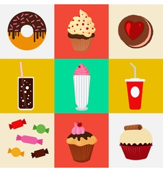 Sweet food fast food cake donut candies icons set vector
