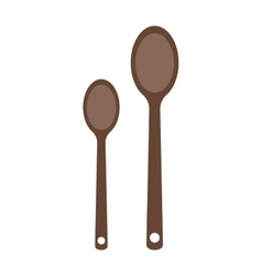 Wooden two spoon silhouette set dinner vector