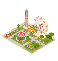 Amusement park isometric design concept vector