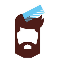 barbershop comb with male hair vector image vector image