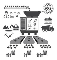 big data icons set data mining concept vector image vector image