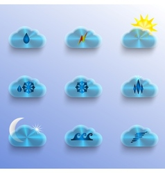 Blue clouds with weather signs vector