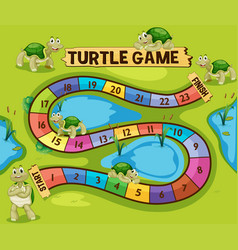 Boardgame template with turtles in the pond vector