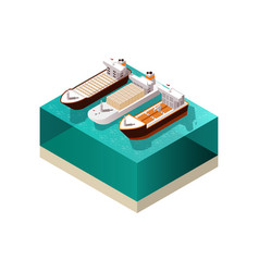 Cargo boats isometric composition vector