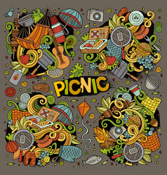 Cartoon picnic doodle vector