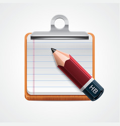 clipboard and pencil icon vector image vector image