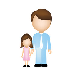 color silhouette faceless with father and daughter vector image