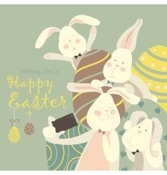 Easter bunnies take a selfie vector