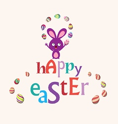 Easter bunny playful cute eggs fun humor card vector