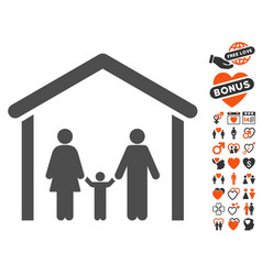 Family cabin icon with dating bonus vector