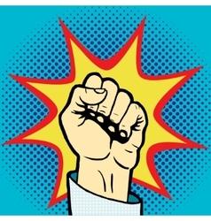 Fist hand pop art style vector image