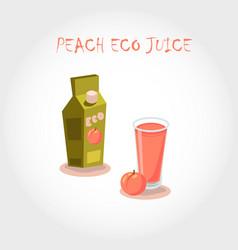 glass of bio fresh peach juice vector image vector image