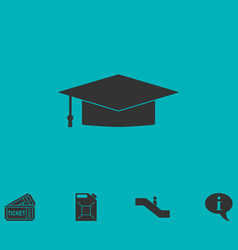 Graduation cap icon flat vector