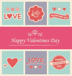 happy valentines day icons logos text set vector image vector image
