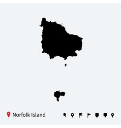 High detailed map of norfolk island with vector