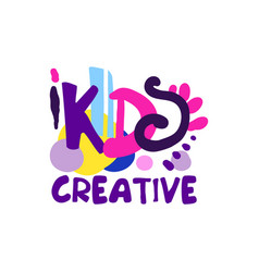 Kids creative colorful logo design hand drawn vector