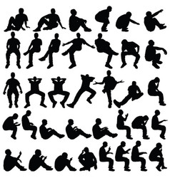 man sitting silhouette in various poses set vector image vector image