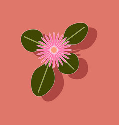 Paper sticker on stylish background plant bellis vector