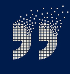 Quotation mark flying pixel symbol vector