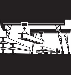 railroad crane loading concrete panels on truck vector image vector image