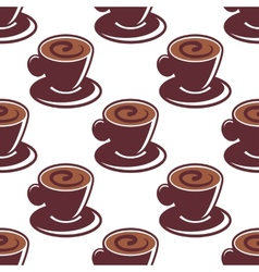 Seamless pattern of cups of hot cappuccino vector image