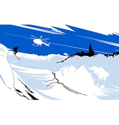 skier goes down from snowy mountain vector image vector image