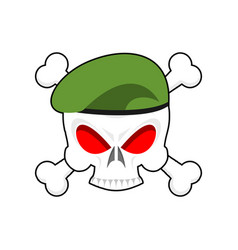 Skull in beret military emblem army cap and head vector