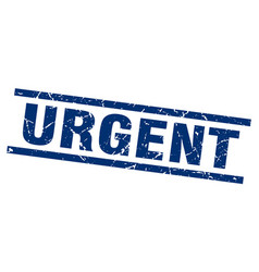Square grunge blue urgent stamp vector