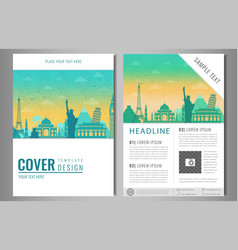 travel brochure design with famous landmarks and vector image vector image