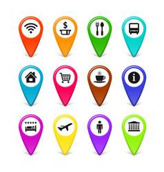 travel symbols map pins set vector image vector image