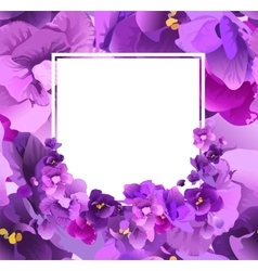 Violet floral frame for greeting card vector image vector image