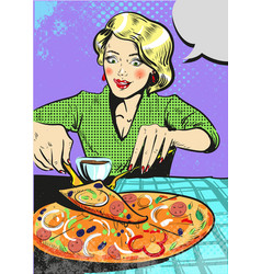 woman eating pizza with emotion pop art comic vector image vector image