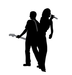 Woman singer and man guitar player vector