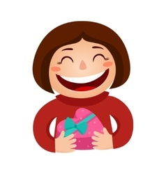 a girl holding a gift in a vector image