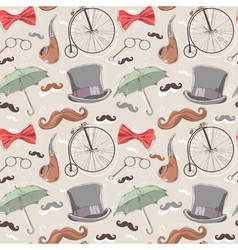 Retro seamless pattern with vintage objects vector