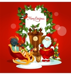 Christmas greeting card with santa and gift vector