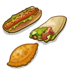 Three meals of fast food on white background vector
