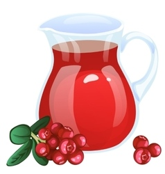 Jug with currant compote cartoon style vector