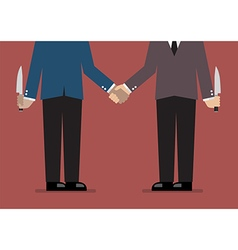 Closeup of business handshake with a knife hidden vector