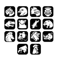 animal head flat icon black button vector image