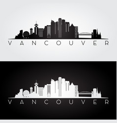Vancouver skyline and landmarks silhouette vector