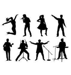 Set of silhouettes of musicians singers and vector