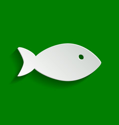 Fish sign paper whitish icon vector