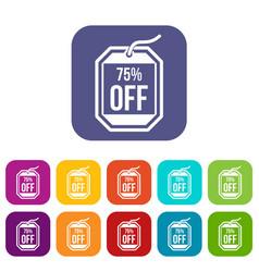 Sale tag 75 percent off icons set vector