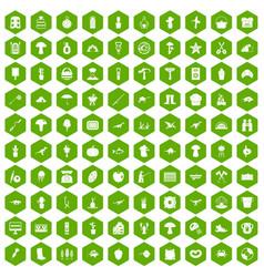 100 hobby icons hexagon green vector