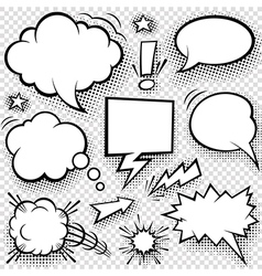 Comic Speech Bubbles and Elements Set vector image