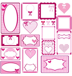 Set of cute pink frames for girls vector image