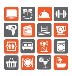 Silhouette hotel and motel facilities icons vector