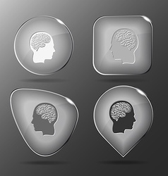 Human brain glass buttons vector
