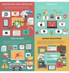 Computer security square flat icons composition vector